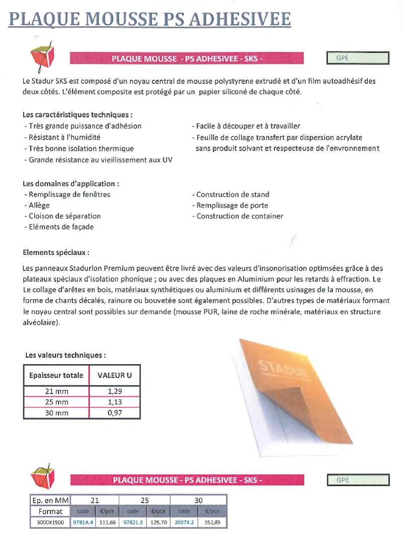14.plaque mousse PS adhesive